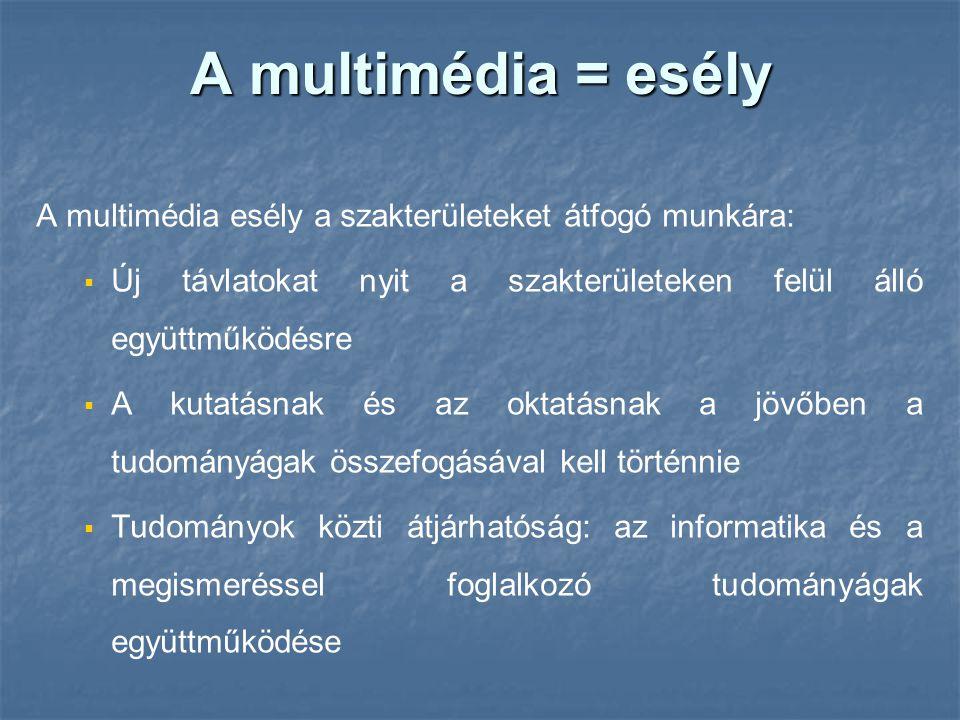 A multimédia = esély A multimédia esély a szakterületeket átfogó munkára:   Új távlatokat nyit a szakterületeken felül álló együttműködésre   A ku