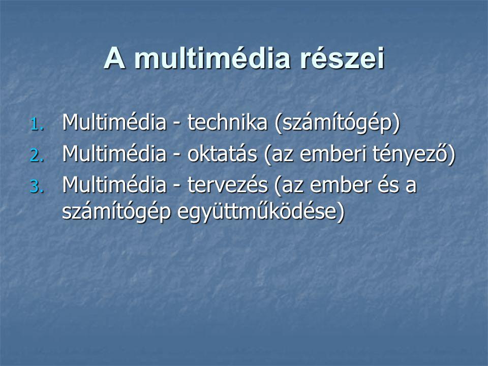 A multimédia részei 1. Multimédia - technika (számítógép) 2. Multimédia - oktatás (az emberi tényező) 3. Multimédia - tervezés (az ember és a számítóg