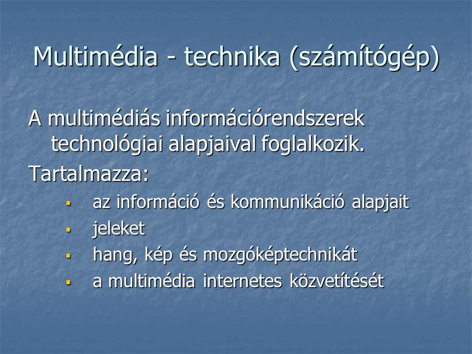 Multimédia - technika (számítógép) A multimédiás információrendszerek technológiai alapjaival foglalkozik. Tartalmazza:  az információ és kommunikáci
