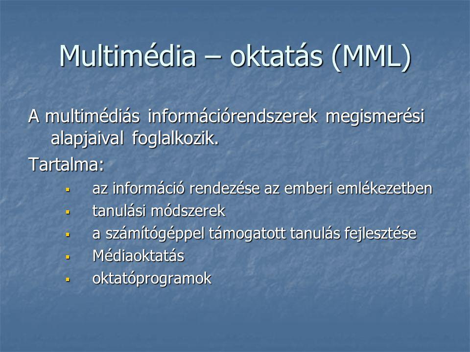 Multimédia – oktatás (MML) A multimédiás információrendszerek megismerési alapjaival foglalkozik. Tartalma:  az információ rendezése az emberi emléke