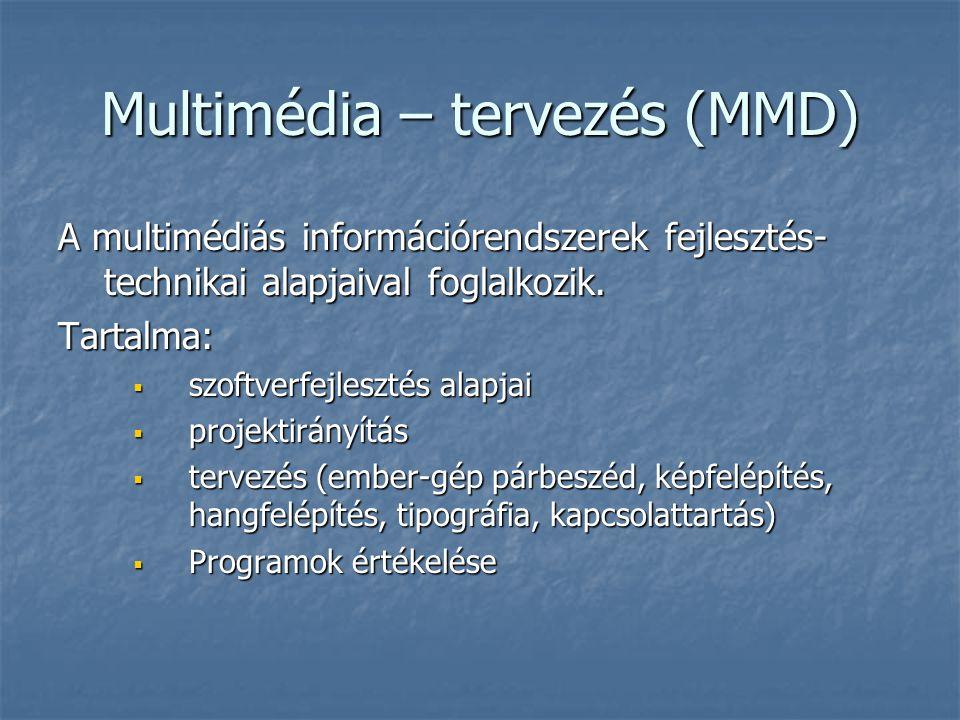 Multimédia – tervezés (MMD) A multimédiás információrendszerek fejlesztés- technikai alapjaival foglalkozik.