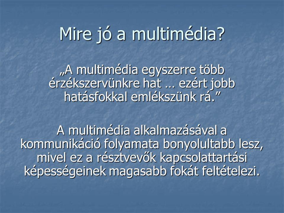 """Mire jó a multimédia? """"A multimédia egyszerre több érzékszervünkre hat … ezért jobb hatásfokkal emlékszünk rá."""" A multimédia alkalmazásával a kommunik"""