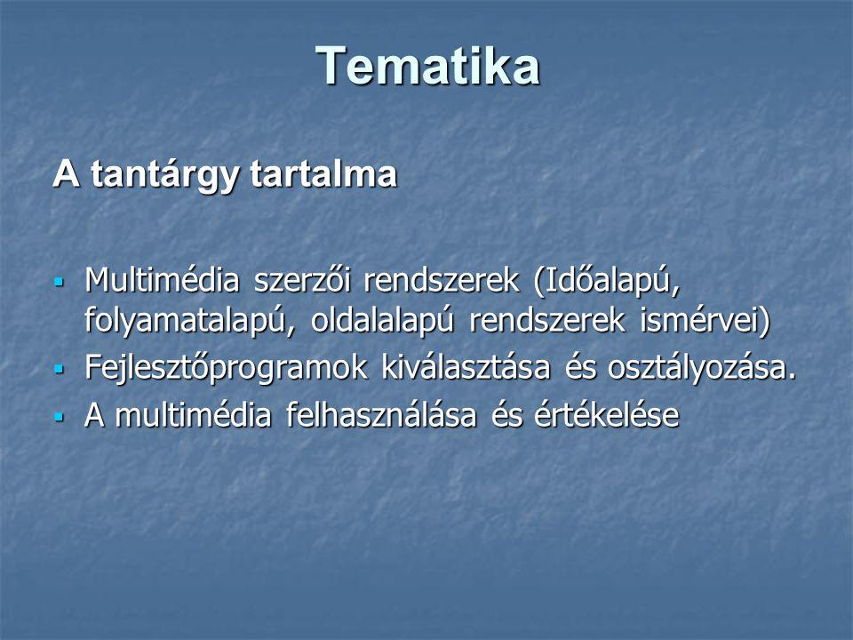 Tematika A tantárgy tartalma  Multimédia szerzői rendszerek (Időalapú, folyamatalapú, oldalalapú rendszerek ismérvei)  Fejlesztőprogramok kiválasztása és osztályozása.
