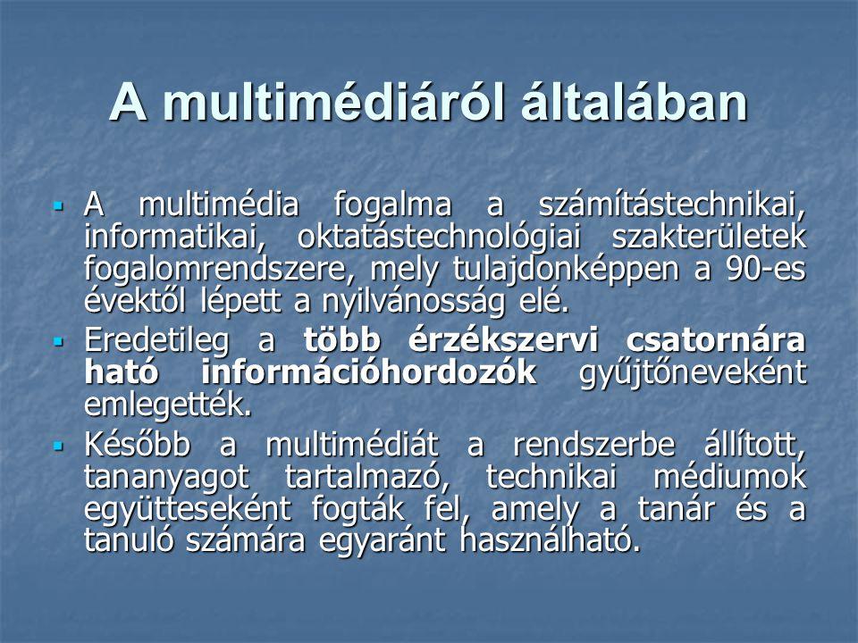 A multimédiáról általában  A multimédia fogalma a számítástechnikai, informatikai, oktatástechnológiai szakterületek fogalomrendszere, mely tulajdonképpen a 90-es évektől lépett a nyilvánosság elé.