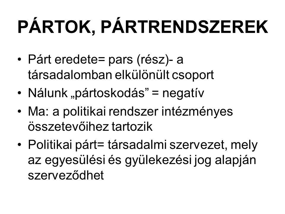 """PÁRTOK, PÁRTRENDSZEREK Párt eredete= pars (rész)- a társadalomban elkülönült csoport Nálunk """"pártoskodás"""" = negatív Ma: a politikai rendszer intézmény"""