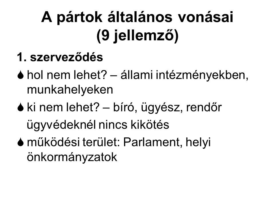 A pártok általános vonásai (9 jellemző) 1. szerveződés  hol nem lehet? – állami intézményekben, munkahelyeken  ki nem lehet? – bíró, ügyész, rendőr