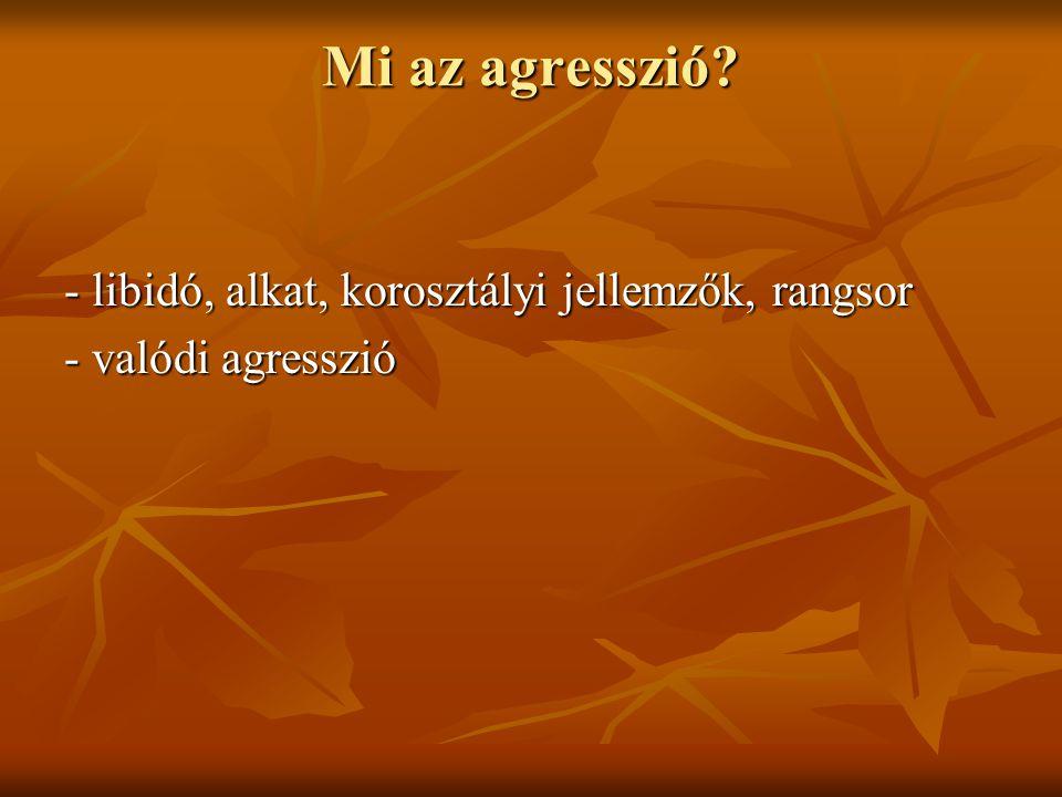 FONTOS Az agresszió nem örökölhető, hanem tanulási folyamat eredménye!!.