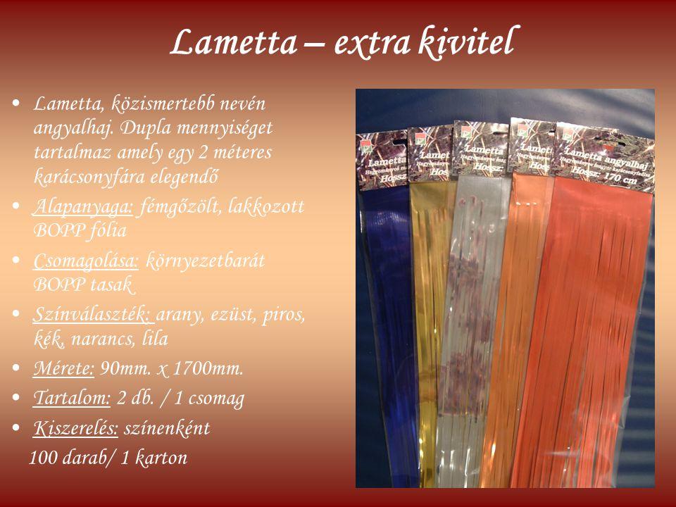 Lametta – extra kivitel Lametta, közismertebb nevén angyalhaj. Dupla mennyiséget tartalmaz amely egy 2 méteres karácsonyfára elegendő Alapanyaga: fémg