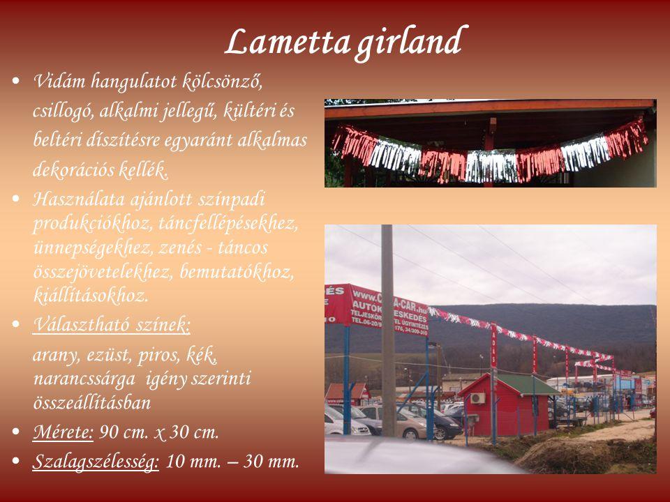 Lametta girland Vidám hangulatot kölcsönző, csillogó, alkalmi jellegű, kültéri és beltéri díszítésre egyaránt alkalmas dekorációs kellék. Használata a