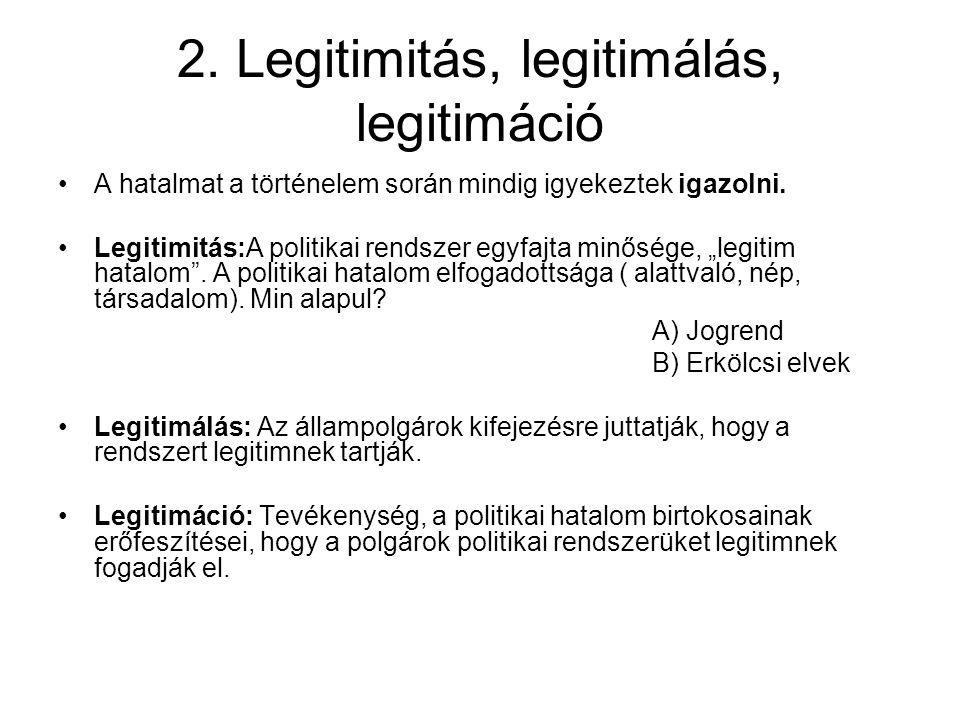 2.Legitimitás, legitimálás, legitimáció A hatalmat a történelem során mindig igyekeztek igazolni.