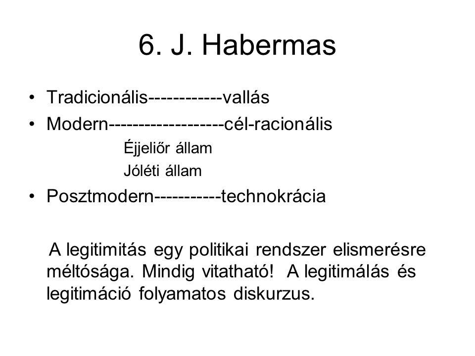 6. J. Habermas Tradicionális------------vallás Modern-------------------cél-racionális Éjjeliőr állam Jóléti állam Posztmodern-----------technokrácia