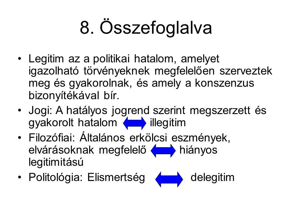 8. Összefoglalva Legitim az a politikai hatalom, amelyet igazolható törvényeknek megfelelően szerveztek meg és gyakorolnak, és amely a konszenzus bizo