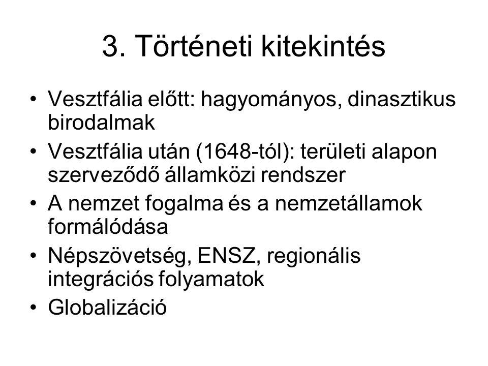 3. Történeti kitekintés Vesztfália előtt: hagyományos, dinasztikus birodalmak Vesztfália után (1648-tól): területi alapon szerveződő államközi rendsze