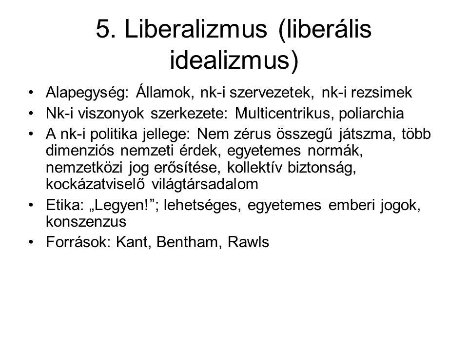 5. Liberalizmus (liberális idealizmus) Alapegység: Államok, nk-i szervezetek, nk-i rezsimek Nk-i viszonyok szerkezete: Multicentrikus, poliarchia A nk