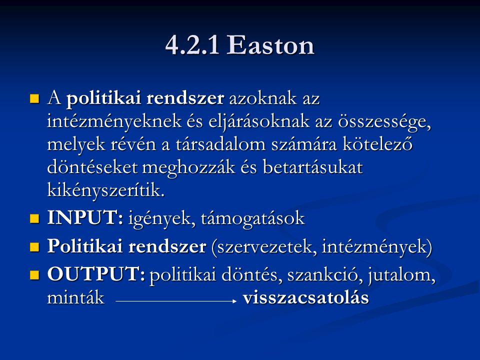 4.2.1 Easton A politikai rendszer azoknak az intézményeknek és eljárásoknak az összessége, melyek révén a társadalom számára kötelező döntéseket meghozzák és betartásukat kikényszerítik.