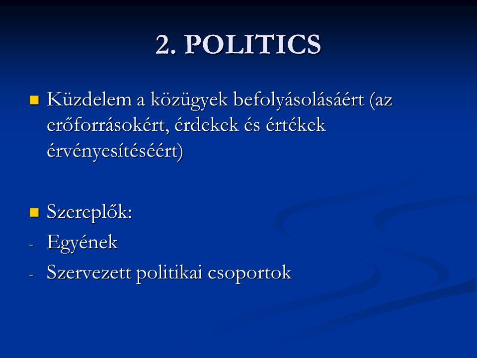 2. POLITICS Küzdelem a közügyek befolyásolásáért (az erőforrásokért, érdekek és értékek érvényesítéséért) Küzdelem a közügyek befolyásolásáért (az erő