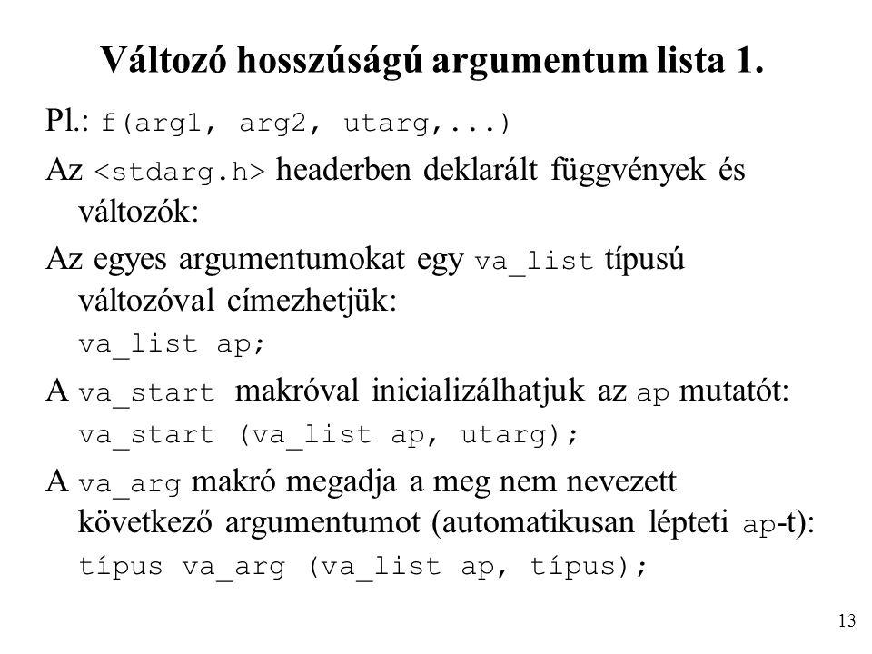 Változó hosszúságú argumentum lista 1. Pl.: f(arg1, arg2, utarg,...) Az headerben deklarált függvények és változók: Az egyes argumentumokat egy va_lis