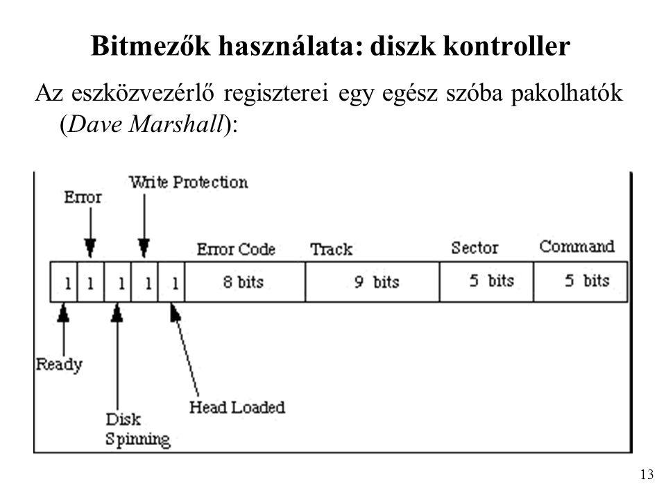 Bitmezők használata: diszk kontroller Az eszközvezérlő regiszterei egy egész szóba pakolhatók (Dave Marshall): 13