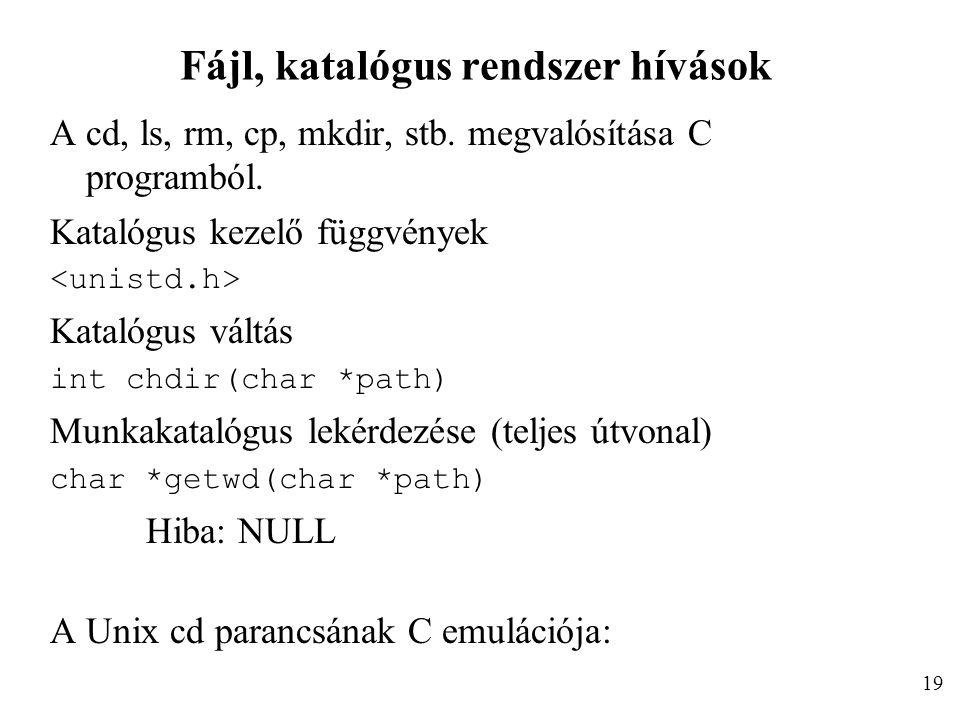 Fájl, katalógus rendszer hívások A cd, ls, rm, cp, mkdir, stb.