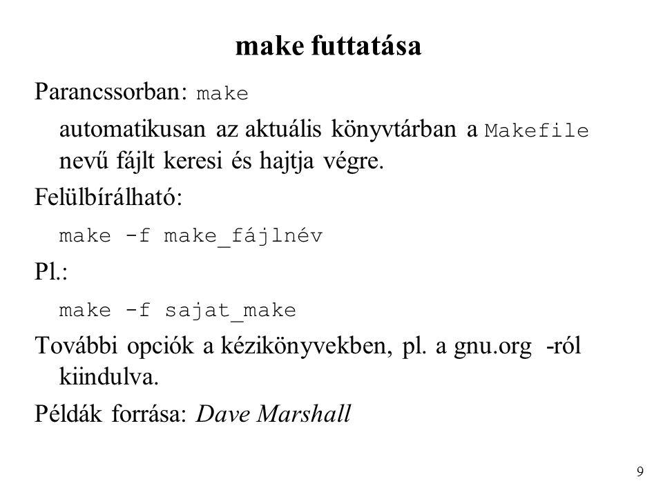 make futtatása Parancssorban: make automatikusan az aktuális könyvtárban a Makefile nevű fájlt keresi és hajtja végre.