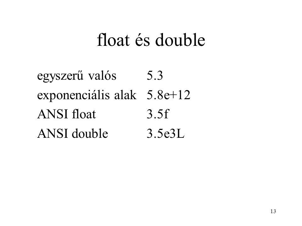 13 float és double egyszerű valós5.3 exponenciális alak5.8e+12 ANSI float3.5f ANSI double3.5e3L