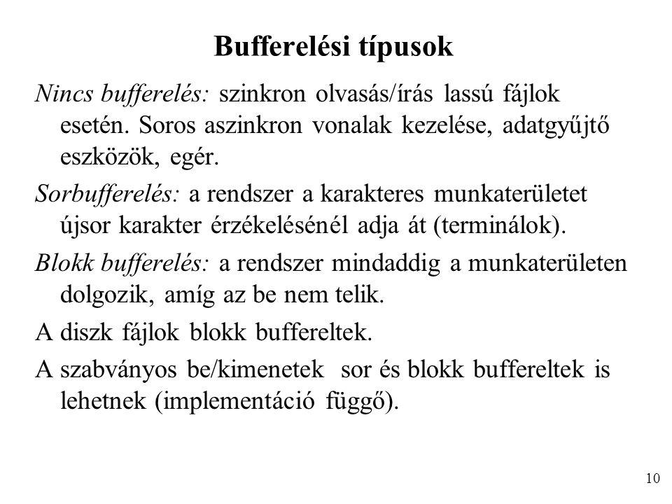 Bufferelési típusok Nincs bufferelés: szinkron olvasás/írás lassú fájlok esetén.