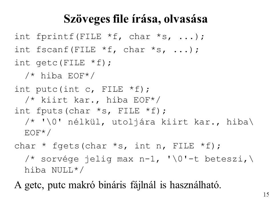 Szöveges file írása, olvasása int fprintf(FILE *f, char *s,...); int fscanf(FILE *f, char *s,...); int getc(FILE *f); /* hiba EOF*/ int putc(int c, FILE *f); /* kiirt kar., hiba EOF*/ int fputs(char *s, FILE *f); /* \0 nélkül, utoljára kiirt kar., hiba\ EOF*/ char * fgets(char *s, int n, FILE *f); /* sorvége jelig max n-1, \0 -t beteszi,\ hiba NULL*/ A getc, putc makró bináris fájlnál is használható.