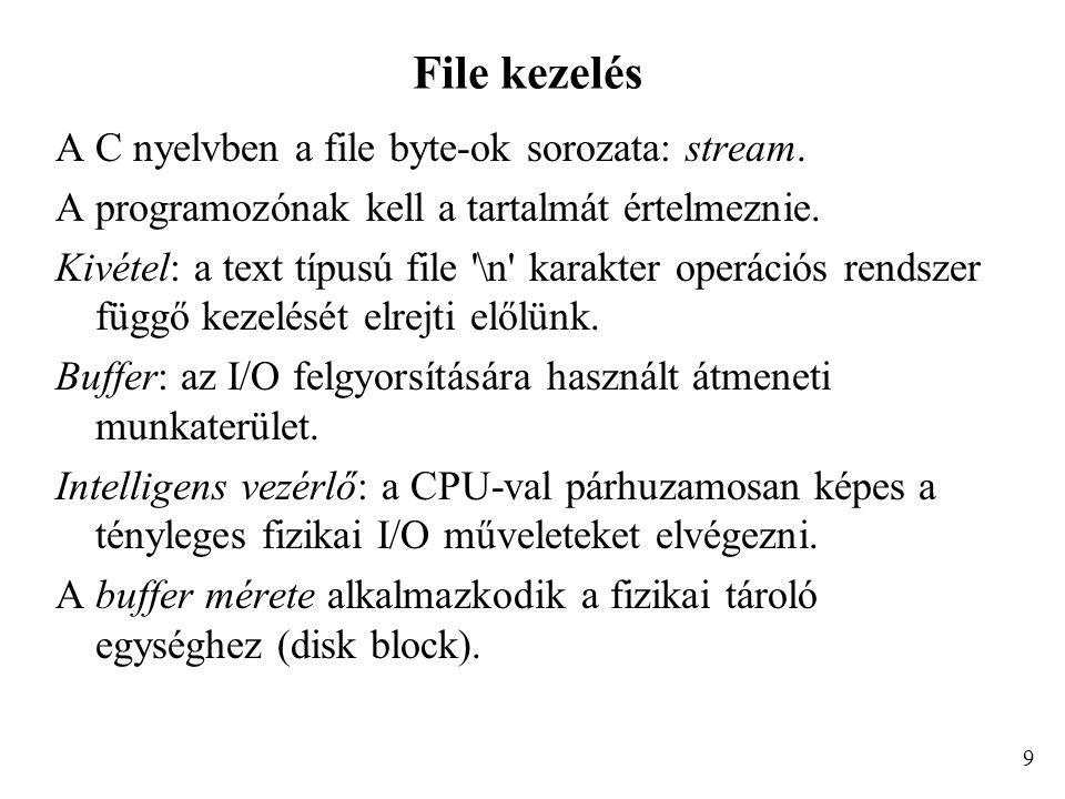 File kezelés A C nyelvben a file byte-ok sorozata: stream.