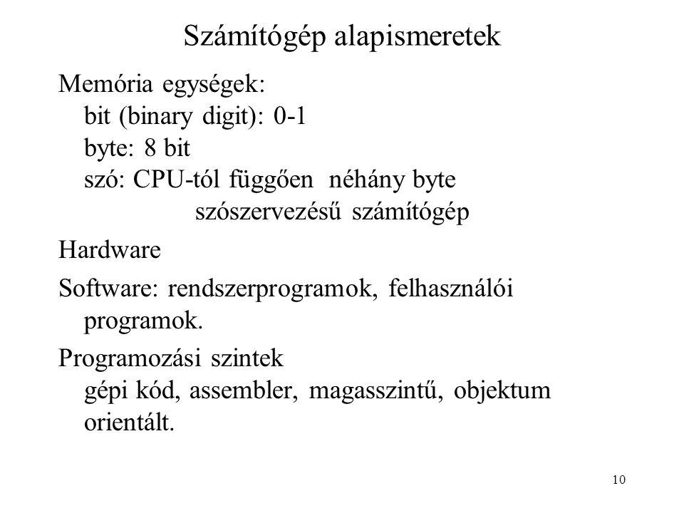10 Számítógép alapismeretek Memória egységek: bit (binary digit): 0-1 byte: 8 bit szó: CPU-tól függően néhány byte szószervezésű számítógép Hardware S