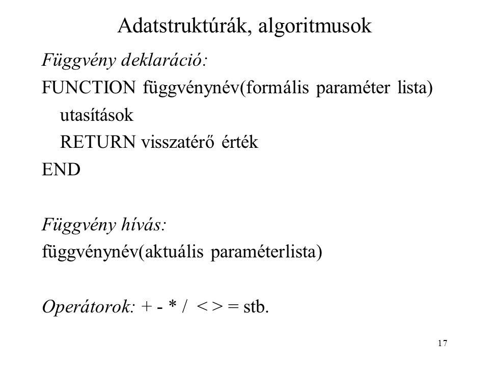17 Adatstruktúrák, algoritmusok Függvény deklaráció: FUNCTION függvénynév(formális paraméter lista) utasítások RETURN visszatérő érték END Függvény hí