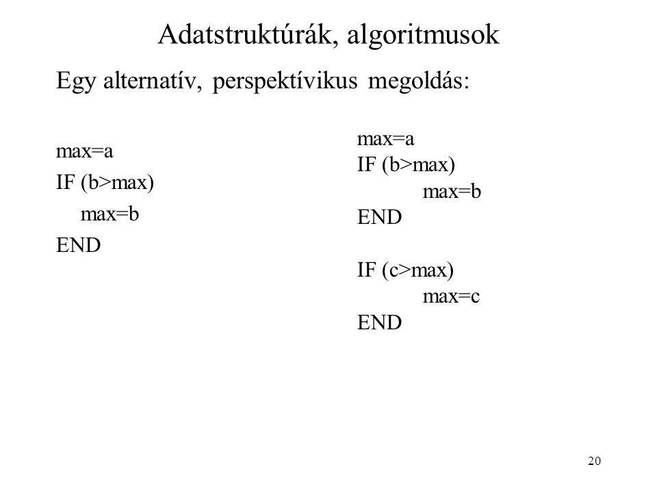 20 Adatstruktúrák, algoritmusok Egy alternatív, perspektívikus megoldás: max=a IF (b>max) max=b END max=a IF (b>max) max=b END IF (c>max) max=c END