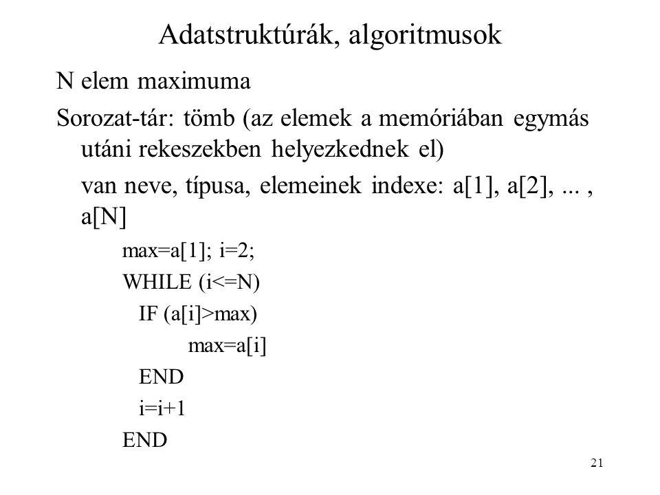 21 Adatstruktúrák, algoritmusok N elem maximuma Sorozat-tár: tömb (az elemek a memóriában egymás utáni rekeszekben helyezkednek el) van neve, típusa,