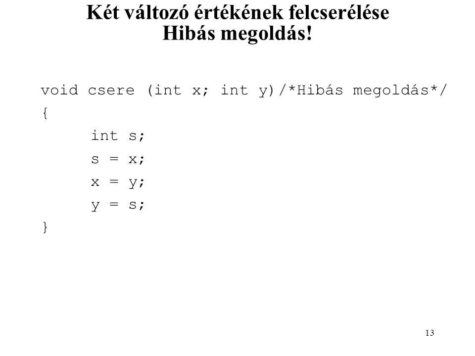 14 Két változó értékének felcserélése Helyes megoldás.