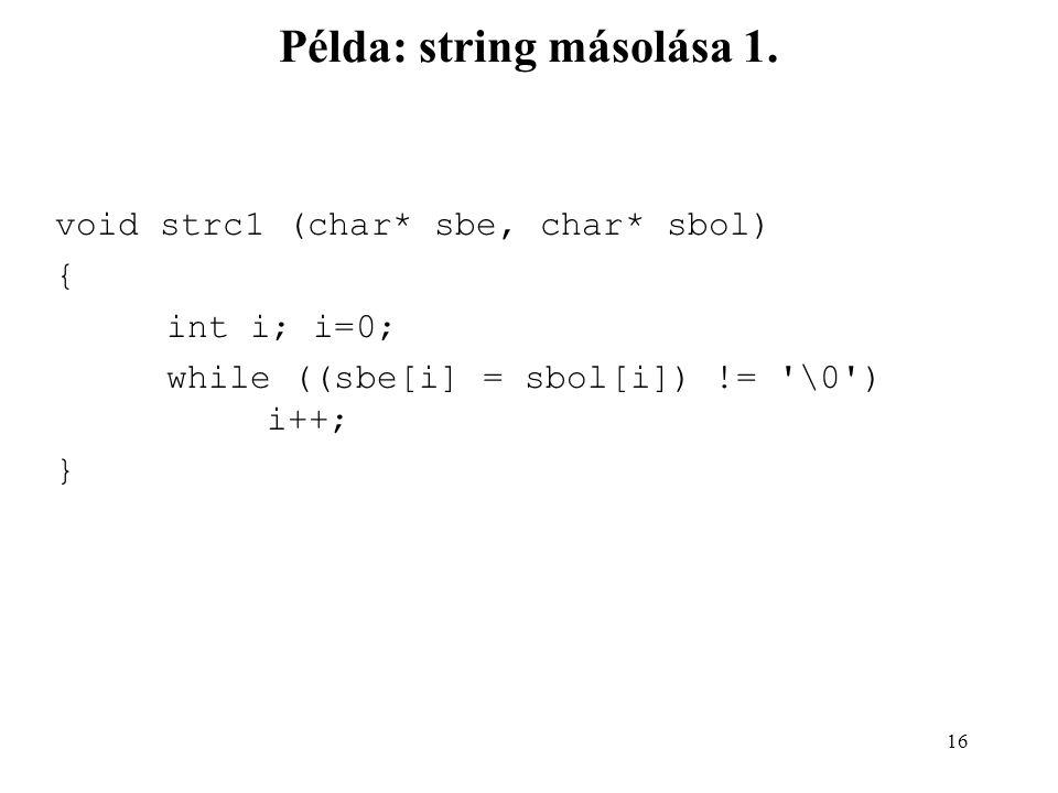 17 Példa: string másolása 2.