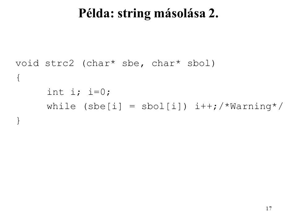 18 Példa: string másolása 3.