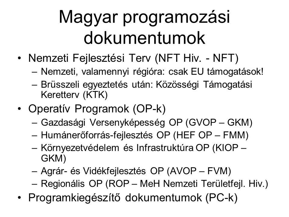 Magyar programozási dokumentumok Nemzeti Fejlesztési Terv (NFT Hiv. - NFT) –Nemzeti, valamennyi régióra: csak EU támogatások! –Brüsszeli egyeztetés ut
