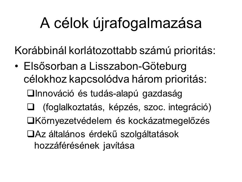 A célok újrafogalmazása Korábbinál korlátozottabb számú prioritás: Elsősorban a Lisszabon-Göteburg célokhoz kapcsolódva három prioritás:  Innováció é