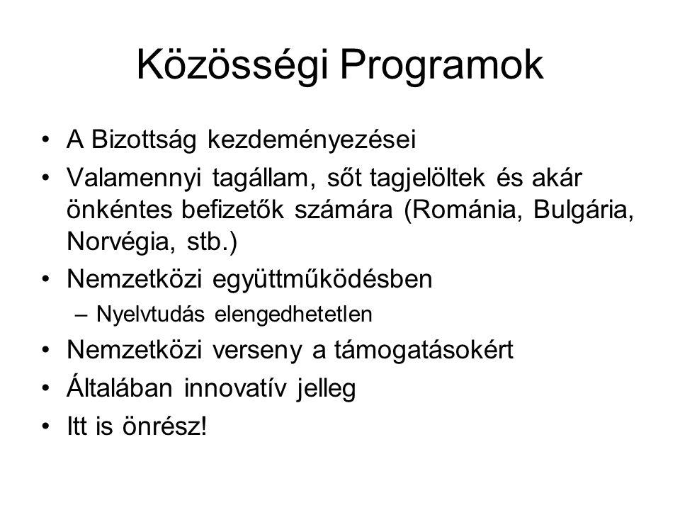 Közösségi Programok A Bizottság kezdeményezései Valamennyi tagállam, sőt tagjelöltek és akár önkéntes befizetők számára (Románia, Bulgária, Norvégia,