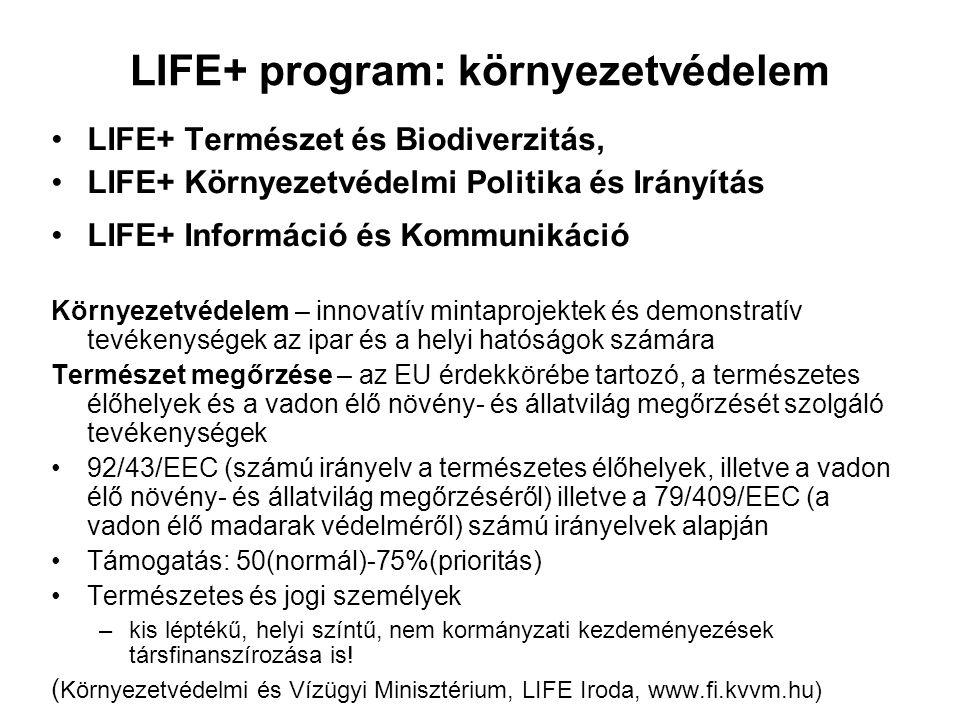 LIFE+ program: környezetvédelem LIFE+ Természet és Biodiverzitás, LIFE+ Környezetvédelmi Politika és Irányítás LIFE+ Információ és Kommunikáció Környe