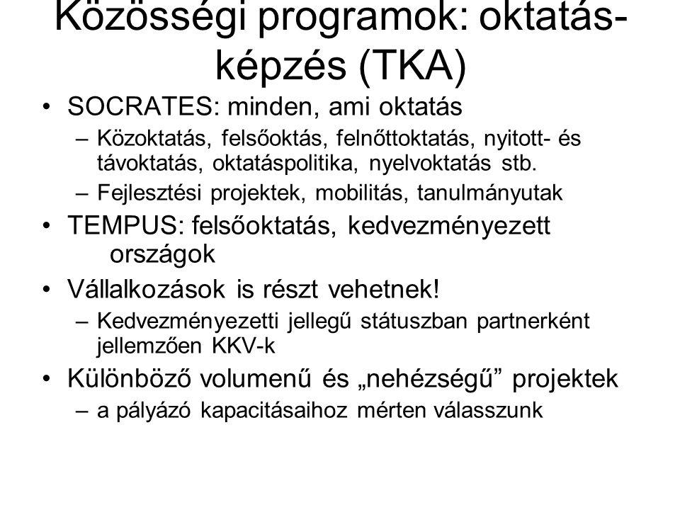Közösségi programok: oktatás- képzés (TKA) SOCRATES: minden, ami oktatás –Közoktatás, felsőoktás, felnőttoktatás, nyitott- és távoktatás, oktatáspolit