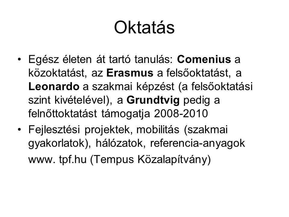 Oktatás Egész életen át tartó tanulás: Comenius a közoktatást, az Erasmus a felsőoktatást, a Leonardo a szakmai képzést (a felsőoktatási szint kivétel