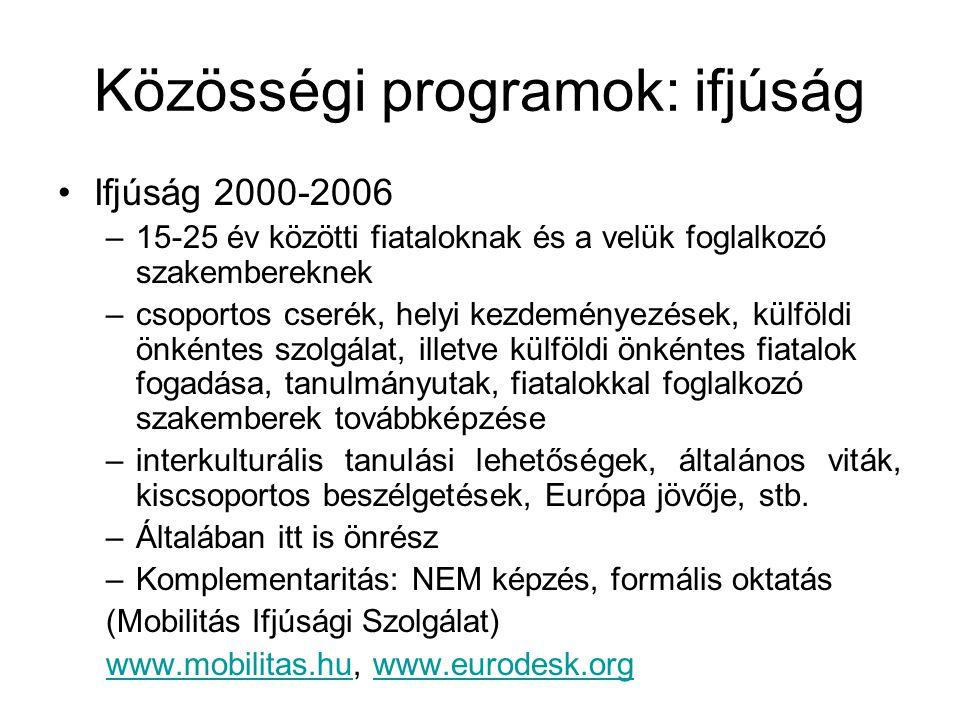 Közösségi programok: kultúra Kultúra 2000 –Európai kulturális együttműködés kulturális párbeszéd, kreativitás és a kultúra nemzetek közötti terjesztése rendezvénysorozatok, kulturális díjak, jelentősebb kulturális események, mobilitás, továbbképzés, stb.