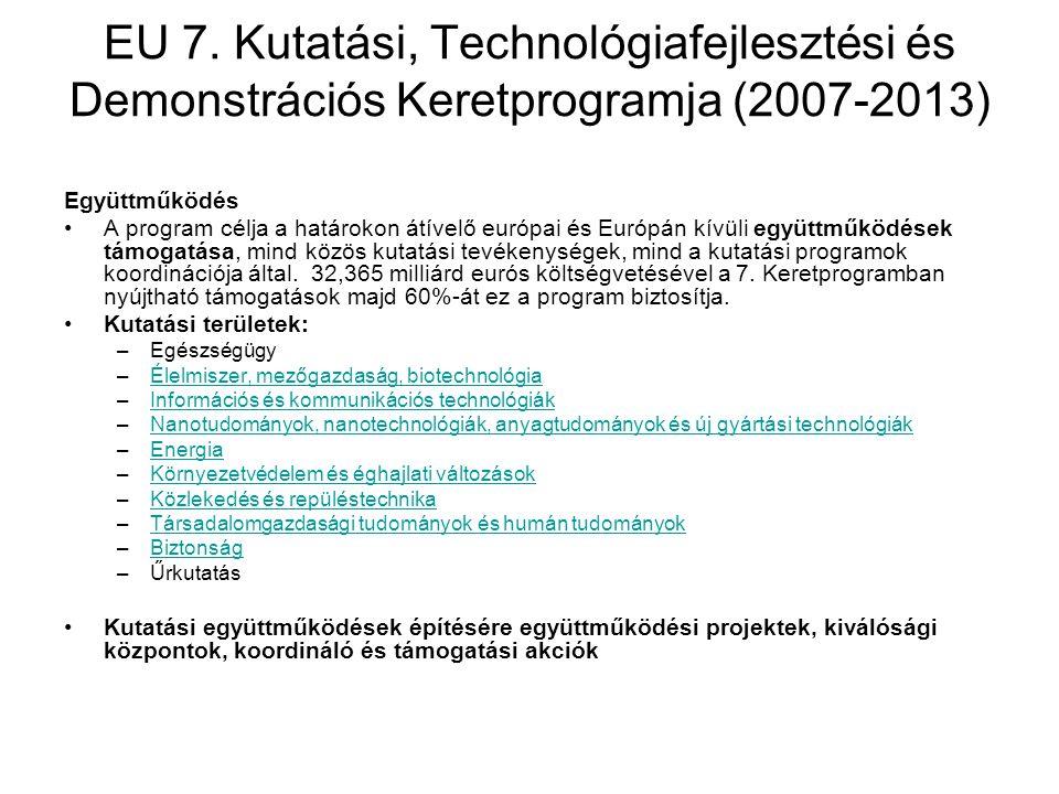 EU 7. Kutatási, Technológiafejlesztési és Demonstrációs Keretprogramja (2007-2013) Együttműködés A program célja a határokon átívelő európai és Európá