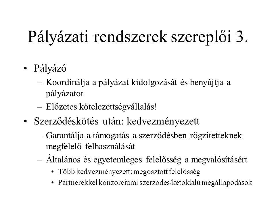 Pályázati rendszerek szereplői 3.