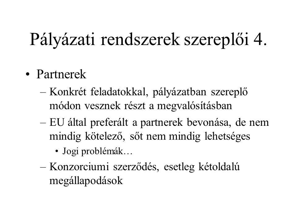 Pályázati rendszerek szereplői 4.