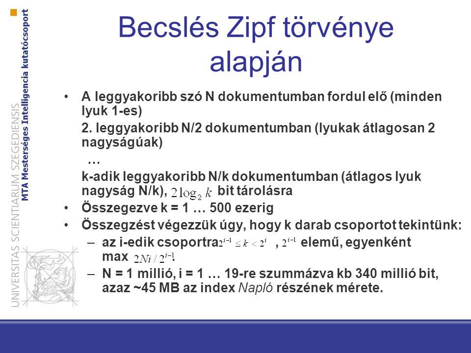 Becslés Zipf törvénye alapján A leggyakoribb szó N dokumentumban fordul elő (minden lyuk 1-es) 2. leggyakoribb N/2 dokumentumban (lyukak átlagosan 2 n