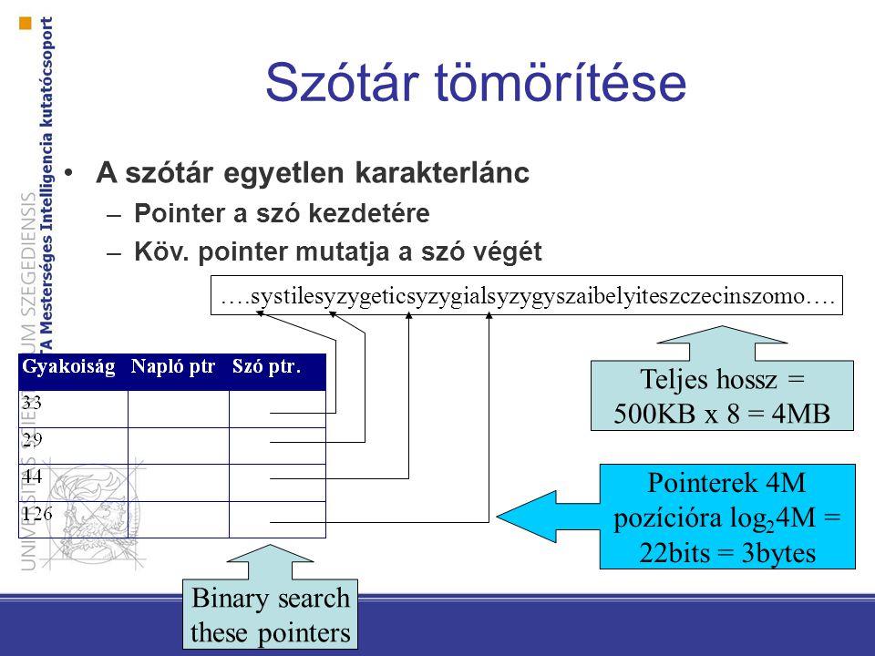 Szótár tömörítése ….systilesyzygeticsyzygialsyzygyszaibelyiteszczecinszomo…. Binary search these pointers Teljes hossz = 500KB x 8 = 4MB Pointerek 4M