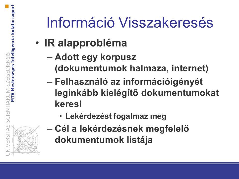 Információ Visszakeresés IR alapprobléma –Adott egy korpusz (dokumentumok halmaza, internet) –Felhasználó az információigényét leginkább kielégítő dok