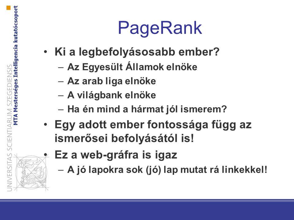 PageRank Ki a legbefolyásosabb ember? –Az Egyesült Államok elnöke –Az arab liga elnöke –A világbank elnöke –Ha én mind a hármat jól ismerem? Egy adott