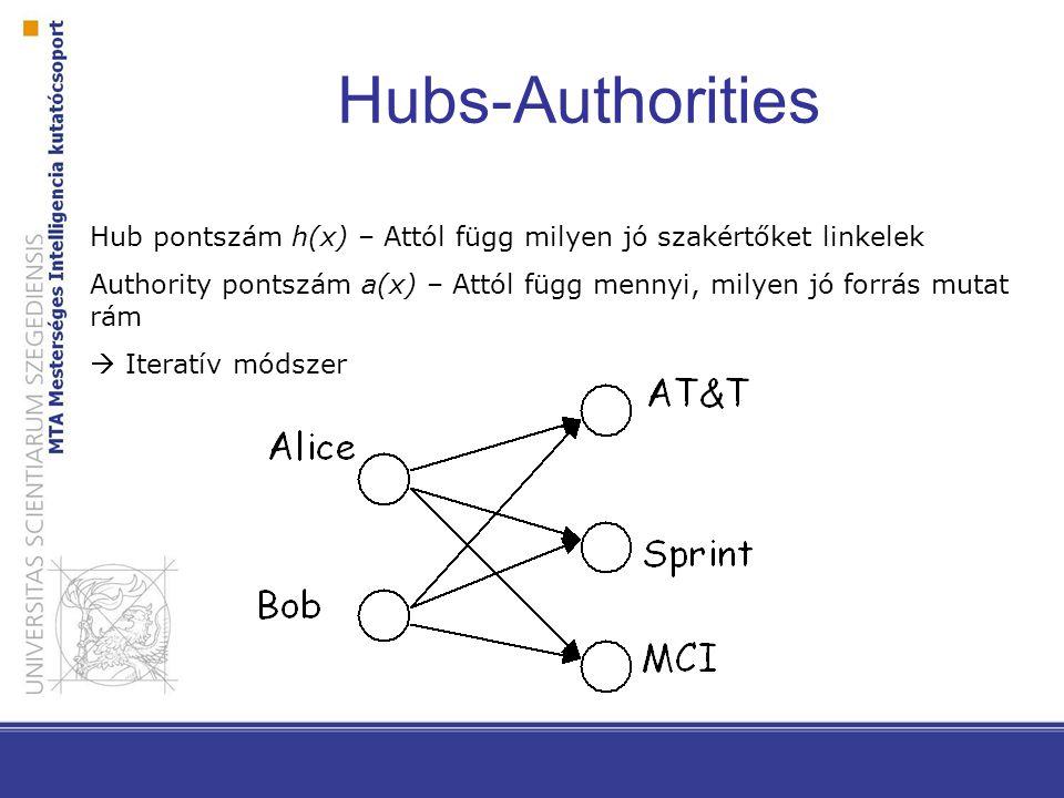 Hubs-Authorities Hub pontszám h(x) – Attól függ milyen jó szakértőket linkelek Authority pontszám a(x) – Attól függ mennyi, milyen jó forrás mutat rám